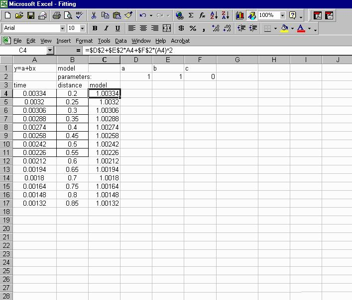 data fitting using excel
